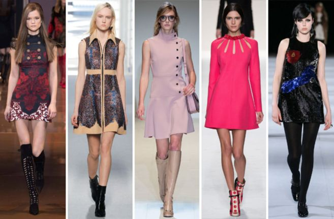 From Saint Laurent to Valentino to Louis Vuitton, designers were inspired by the 60's silhouette of an A-line mini dress, paired with boots.