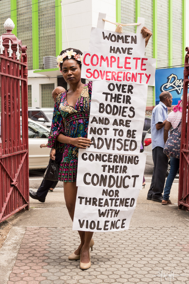 A demonstration against Port of Spain Mayor, Raymond Tim Kee, arranged in response to his vocalised views that the unlawful death and suspected rape of Japanese panplayer, Asami Nagakiya, was a result of her 'lewd' Carnival costume. February 12th, 2016.